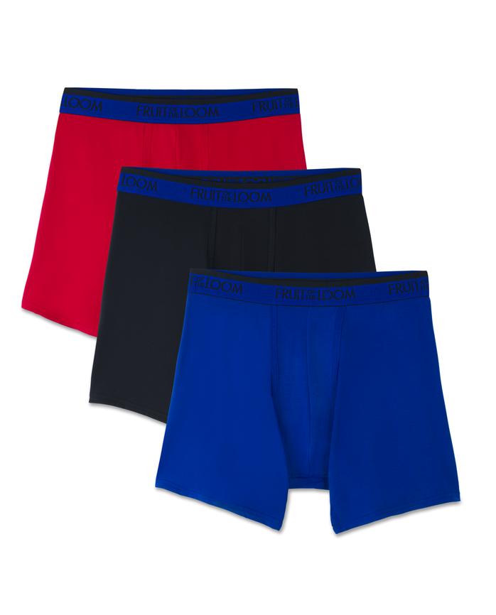 Men's Premium Cool Blend Assorted Boxer Briefs, 3 Pack