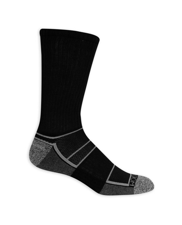 Men's Breathable Crew Socks,  8 Pack, Size 6-12 BLACK/GREY