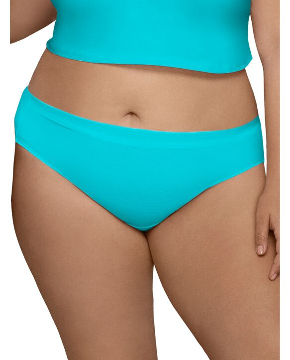 Women's Plus Size Fit for Me® by Fruit of the Loom® Breathable Micro-Mesh Hi-Cut Panty, 6 Pack Assorted