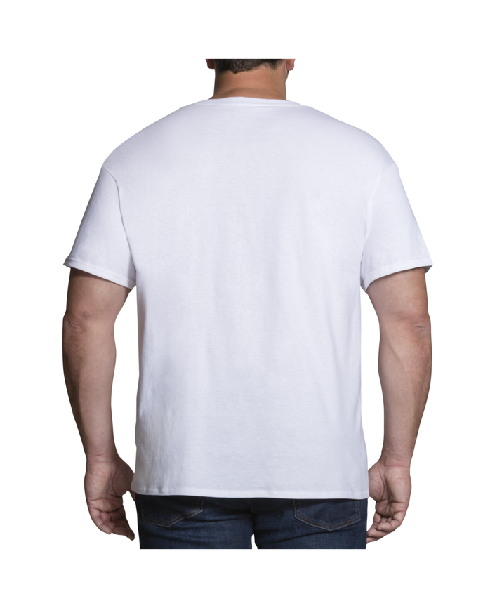 Men's Big and Tall White Crew Neck T-Shirts, 3 Pack White