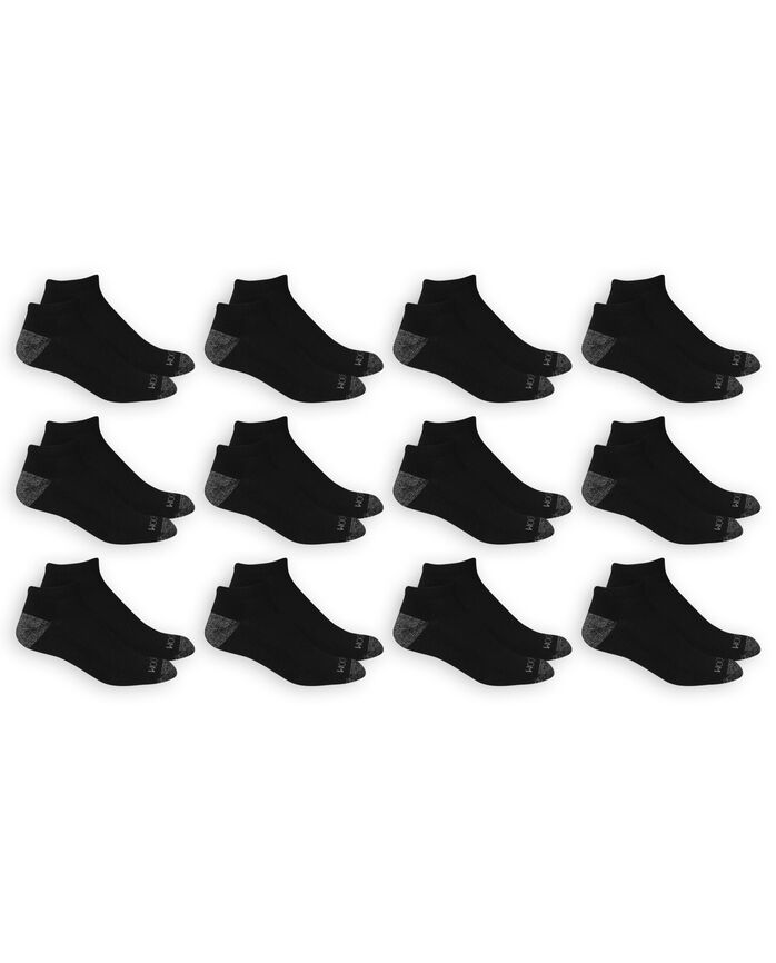 Men's Dual Defense Low Cut Socks, 12 Pack, Size 6-12 BLACK/GREY