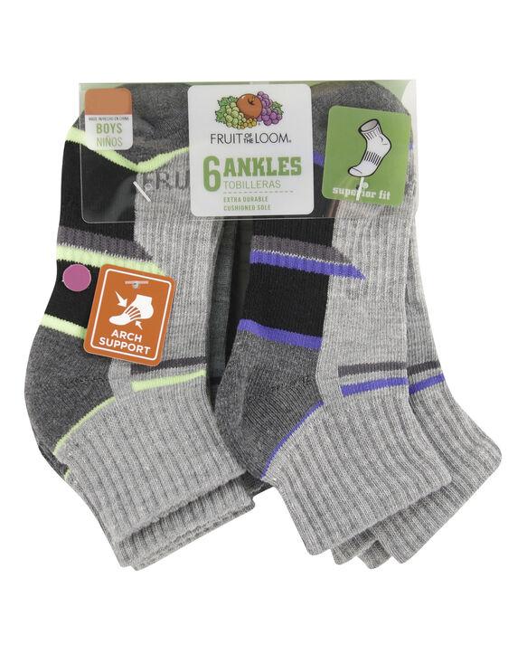 Boys' Everyday Active Ankle Socks Pair, 6 Pack, Size 9-2.5 GREY/RED, GREY/BLUE, GREY/ORANGE, GREY/GREEN, GREY