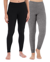 Women's Thermal Bottom, 2 Pack Black/Smoke Heather