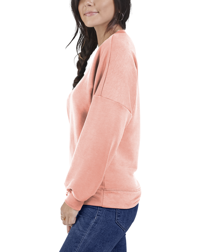 Women's Seek No Further Long Sleeve V-Neck Fleece Blouse Dream Coral
