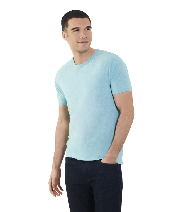 Men's Short Sleeve EverLight™ Raglan T-Shirt, 2 Pack Icy Aqua Heather