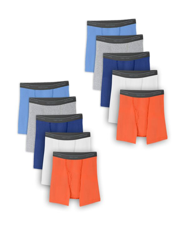 Husky Assorted Cotton Boxer Briefs, 10 Pack ASSORTED
