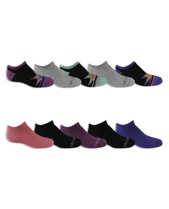 Girls' Everyday Soft No Show Socks Pair, 10 Pack, Size 10.5-4