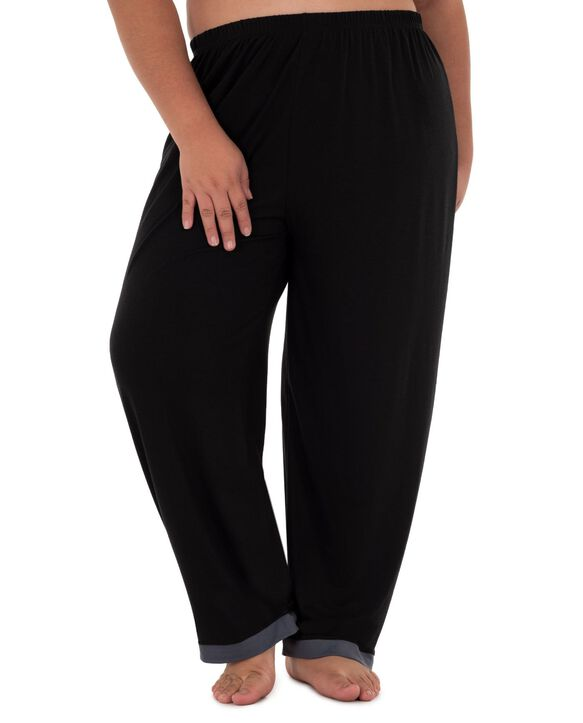 Women's Fit For Me By Fruit of The Loom Plus Size V-neck Pajama Set BLACK SOOT