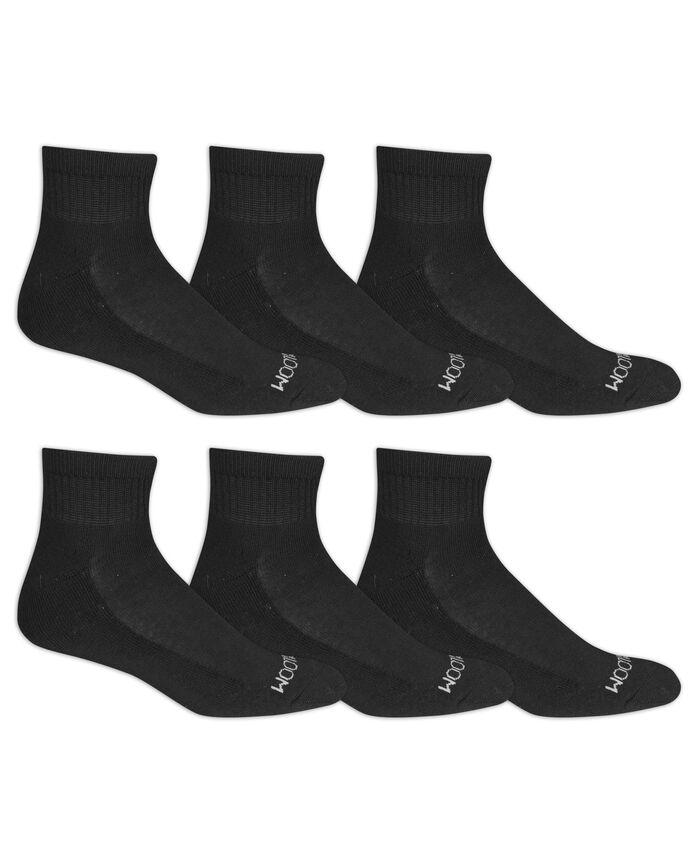 Men's Cushioned Ankle Socks, 6 Pack, Size 6-12 BLACK