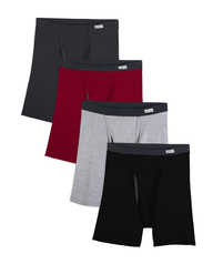 Men's COOLZONE Covered Waistband Boxer Briefs, Extended Sizes, 4 Pack ASSORTED