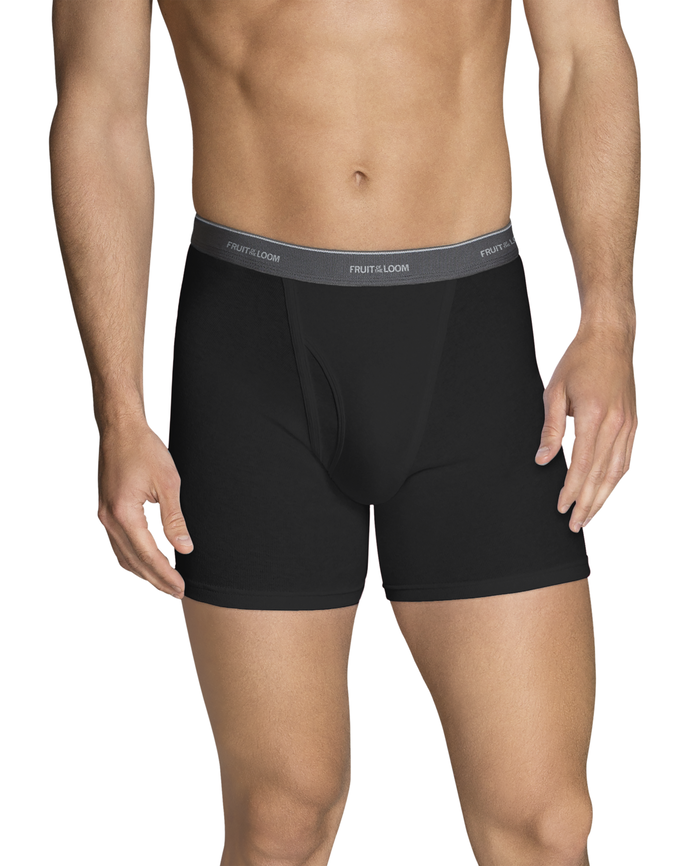 Men's Dual Defense Black and Gray Short Leg Boxer Brief, 4 Pack, Extended Sizes