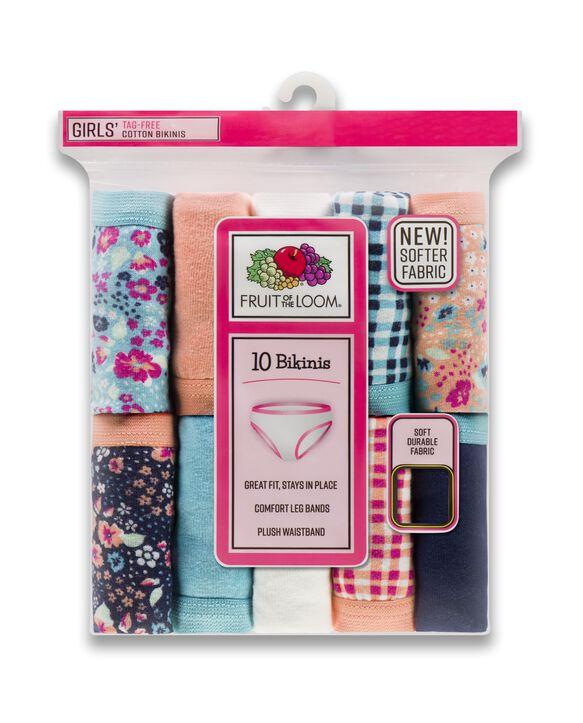 Girls' Assorted Cotton Bikini, 10 Pack Flower & Plaid Assortment