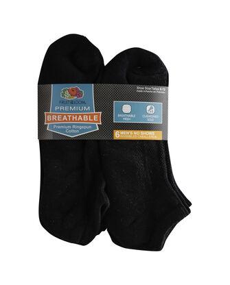 Men's Breathable Cotton No Show Socks, 6 Pack, Size 6-12