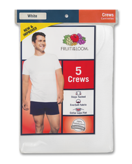 Men's 5 Pack White Crews Extended Sizes White