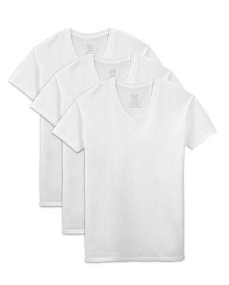 Men's Short Sleeve White V-Neck T-Shirts, 3 Pack, Extended Sizes