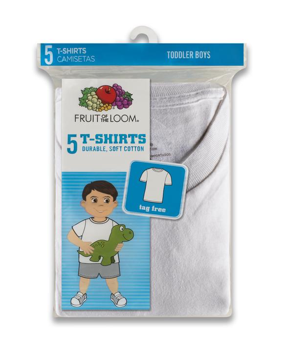 Toddler Boys' White Crew Neck T-Shirts, 5 Pack White