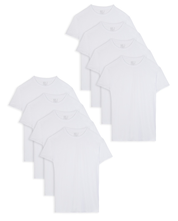 Men's Short Sleeve Active Cotton Blend White Crew T-Shirts, 8 Pack