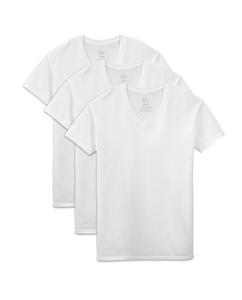 Big Men's Dual Defense White V-Neck T-Shirts, 3 Pack