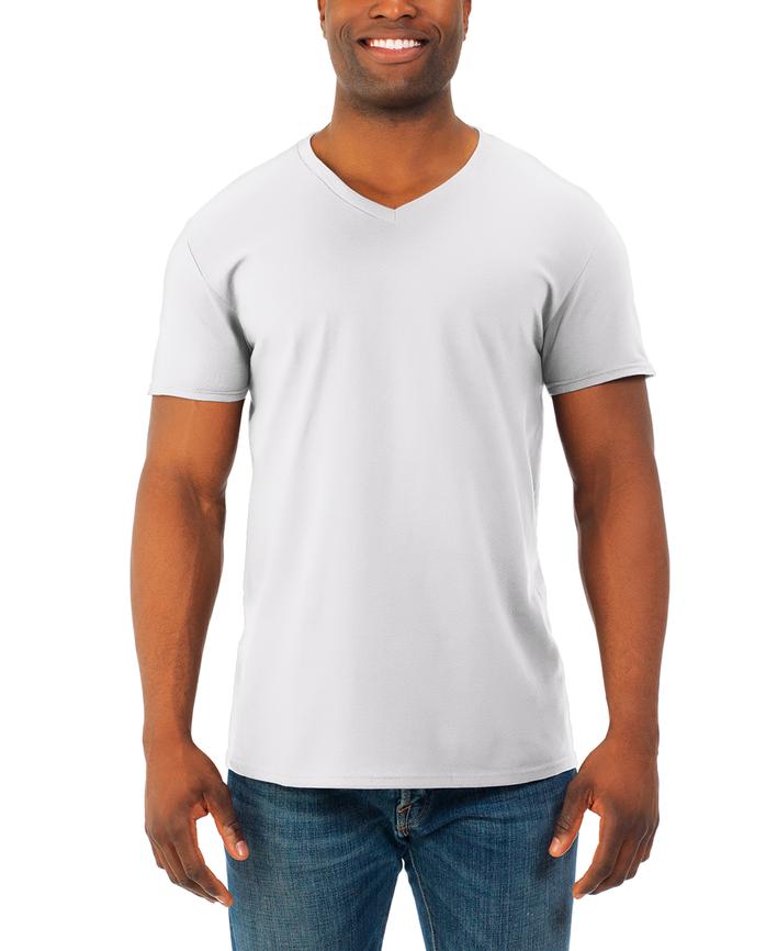 Men's Soft Short Sleeve V-Neck T-Shirt, 4 Pack White