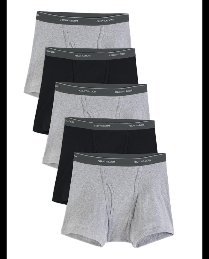 Men's Black/Gray Short Leg Boxer Briefs, 5 Pack