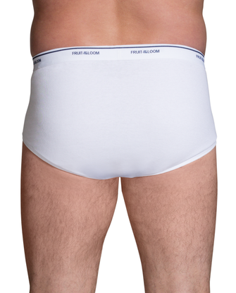 Men's Cotton White Briefs Extended Sizes, 6 Pack