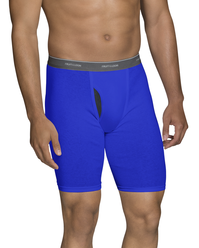 Men's Dual Defense Assorted Long Leg Boxer Briefs, 4 Pack, Extended Sizes Assorted