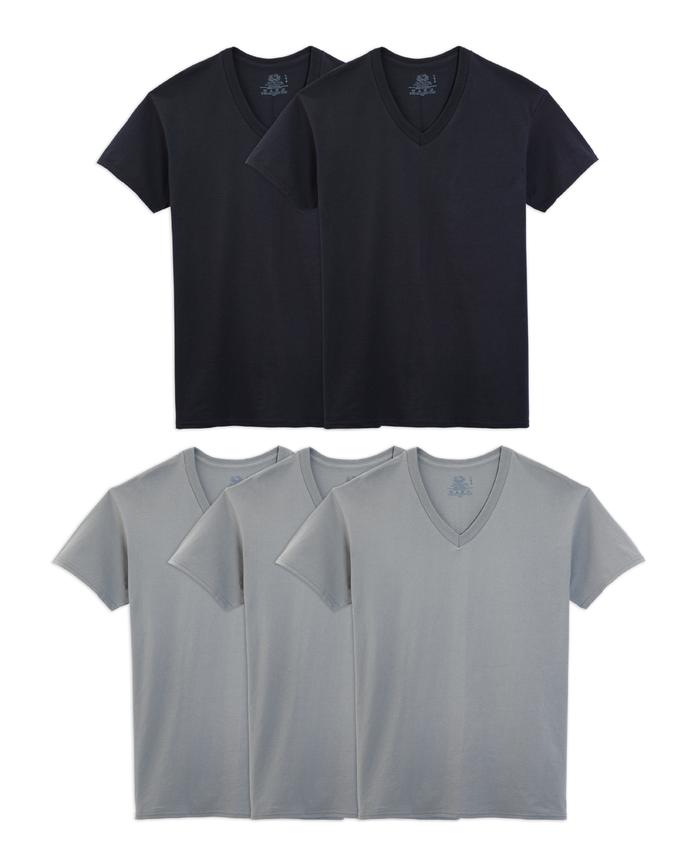 Men's Short Sleeve Black and Gray V-Necks, 5 Pack ASSORTED