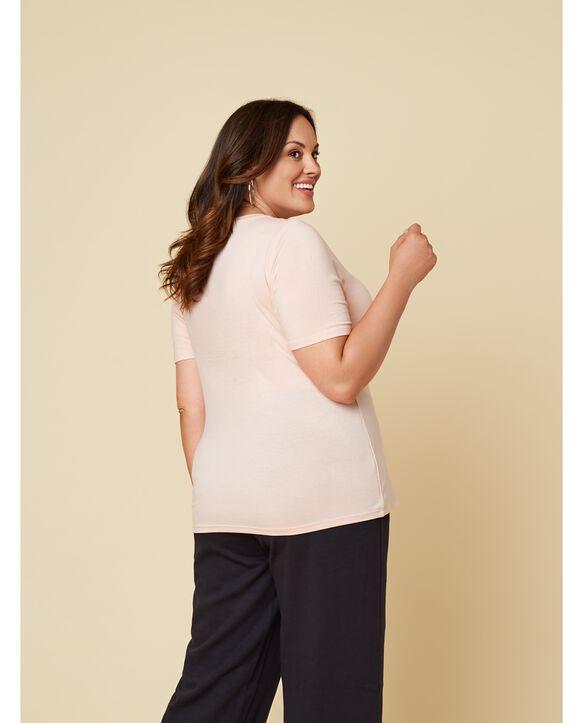 Women's Seek No Further Plus Size Short Sleeve V-Neck T-Shirt Bare Pink