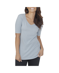 Women's Essentials Elbow Length V-Neck T-Shirt, 1 Pack Bayou Blue Heather