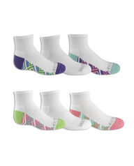 Girls' Cushioned Ankle Socks with Arch Support, 6 Pack, Size 10.5-4 WHITE