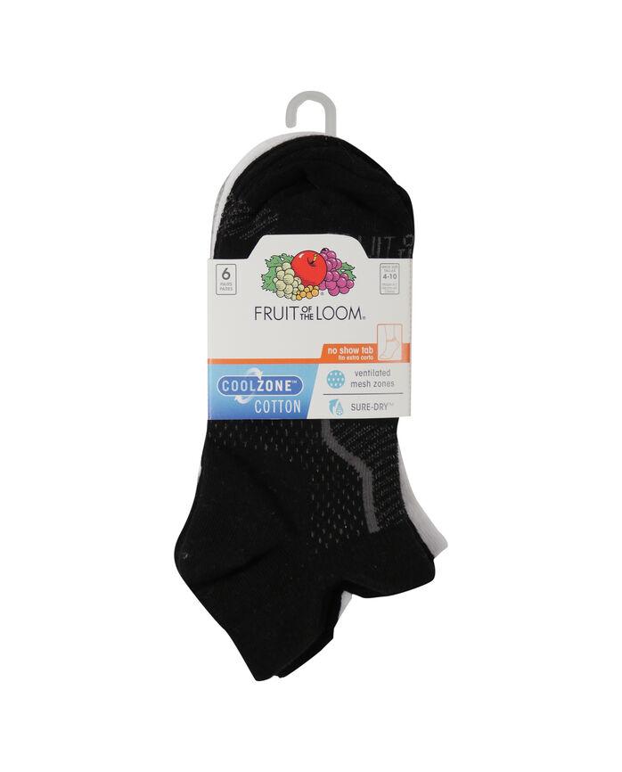 Women's CoolZone Cotton Lightweight No Show Tab Socks, 6 Pack BLACK, WHITE, GREY