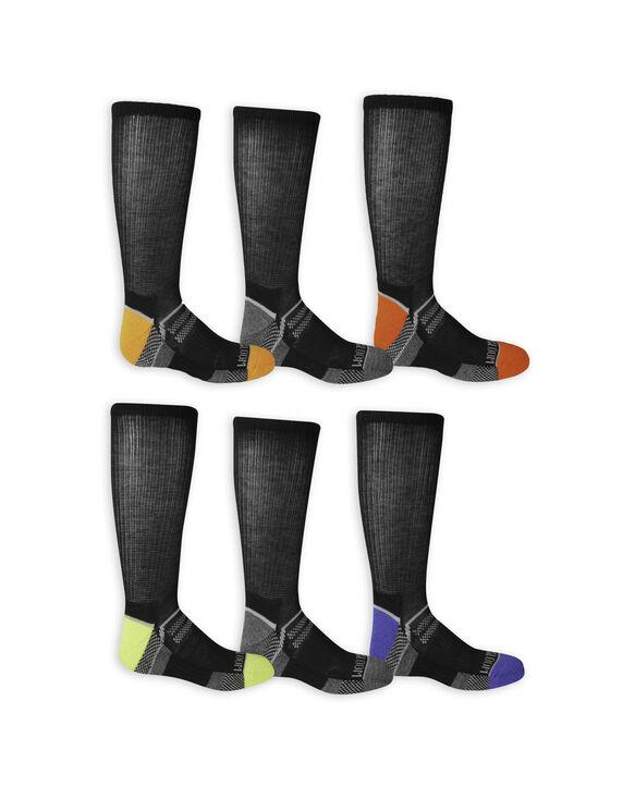 Boys' Everyday Active Crew Socks, 6 Pack BLACK/HIGH RISK RED, BLACK/GREY, BLACK/AUTUMN GLORY, BLACK/DAZZLING BLUE, BLACK/GREY, BLACK/LIME