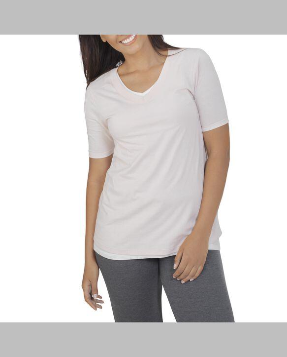 Women's Essentials Elbow Length V-Neck T-Shirt, 1 Pack Cashmere Heather