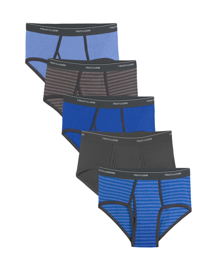 Men's Dual Defense Stripe and Solid Fashion Briefs, 5 Pack, Extended Sizes