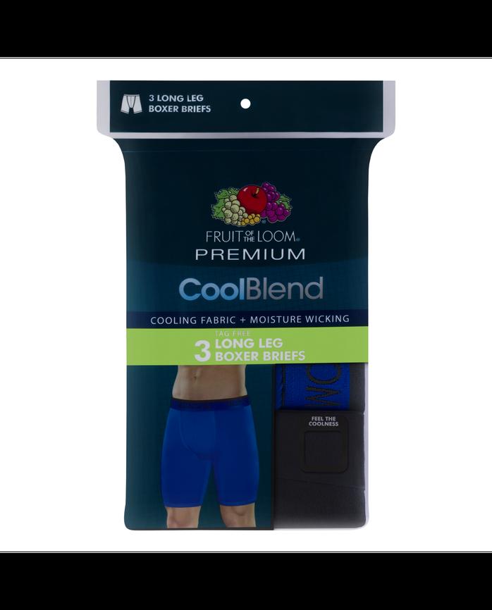 Men's Premium Cool Blend Long Leg Boxer Brief - Assorted, 3 Pack