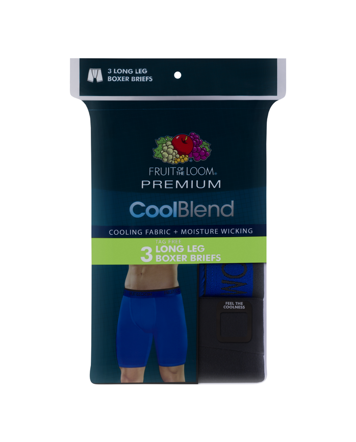 Men's Premium Cool Blend Long Leg Boxer Brief - Assorted, 3 Pack