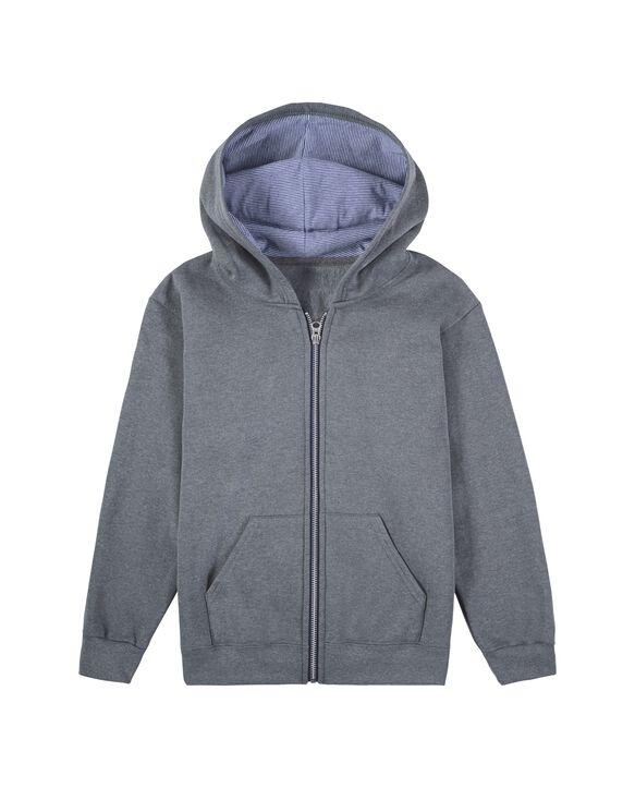 Boys' Fleece Full Zip Hoodie, 1 Pack Charcoal Heather