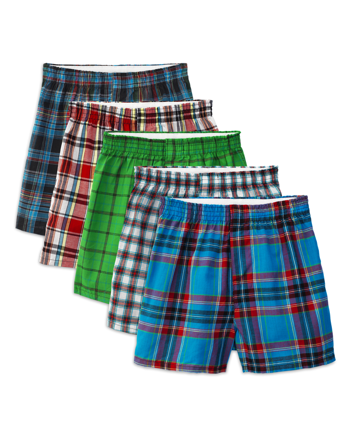 Boys' Tartan Plaid Boxer, 5 Pack ASSORTED