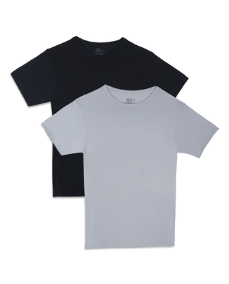 Fruit of the Loom Premium Cool Blend Men's Crew T-Shirts, 2 Pack - Black/Gray