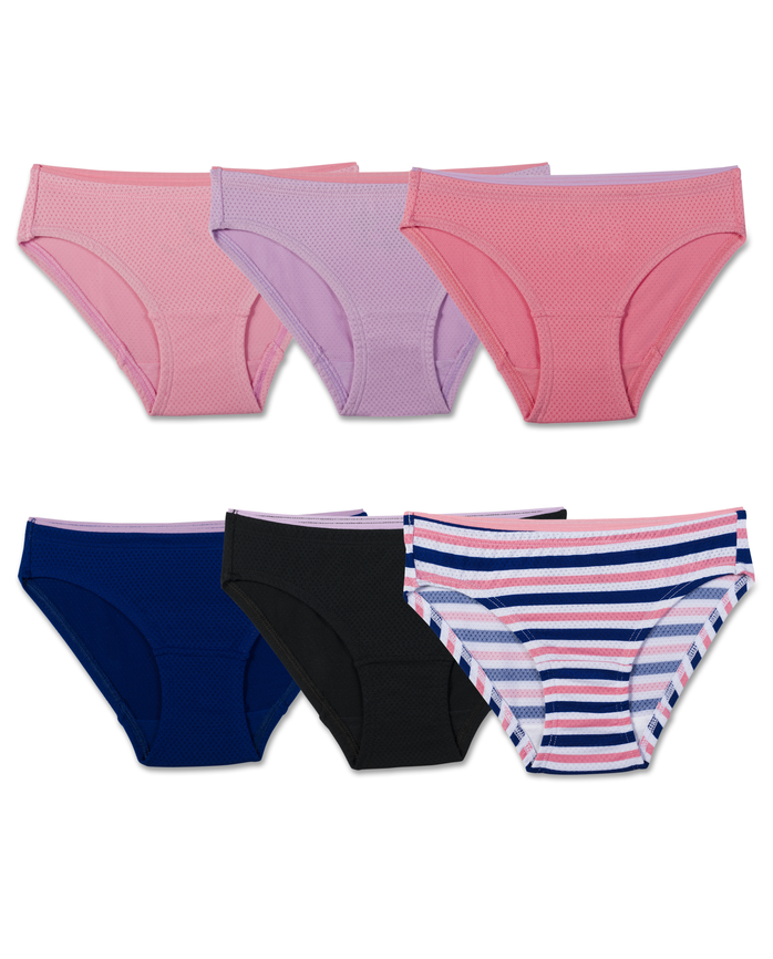 Girls' Breathable Micro-Mesh Bikini - Assorted, 6 Pack Assorted