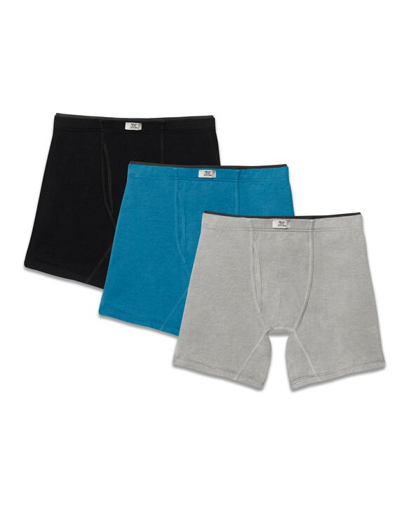 Men's Crafted Comfort Fabric Covered Waistband  Assorted Boxer Briefs, 3 Pack Assorted Color