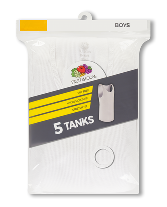Boys' White Tank Top A-Shirts, 5 Pack