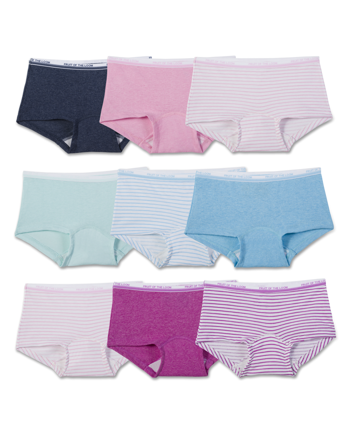 Girls' Assorted Heather Boy Shorts, 9 Pack
