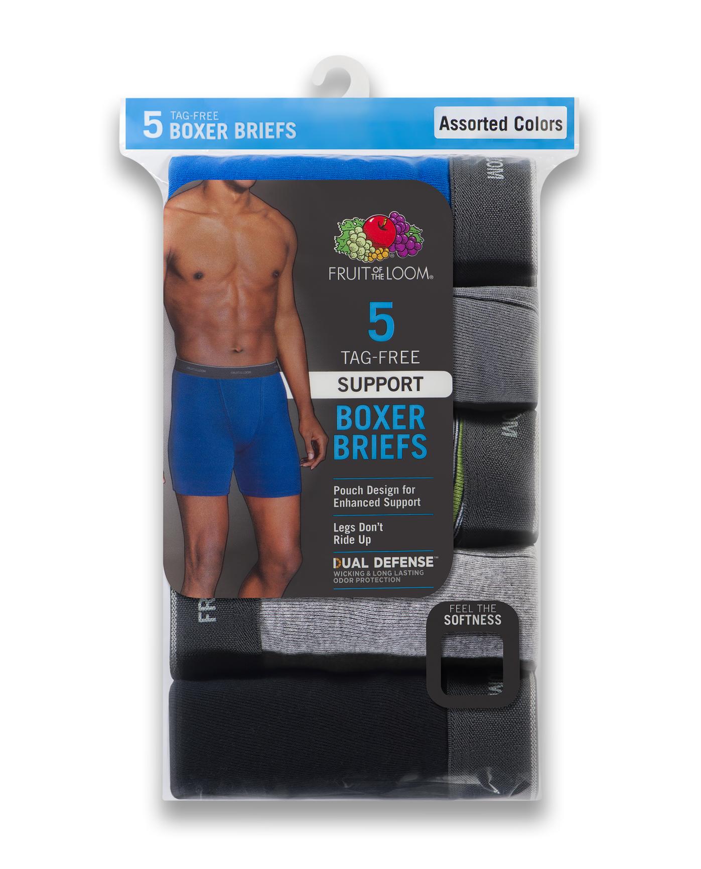 Men's Support Pouch Assorted Dual Defense Boxer Briefs, 5