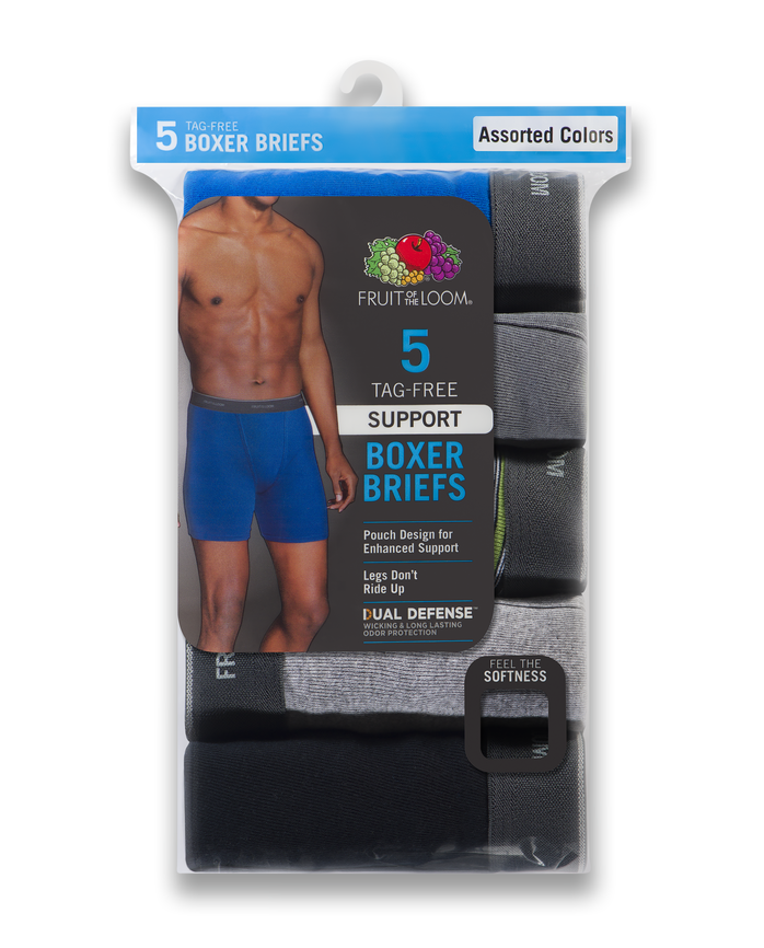 Men's Dual Defense Support Pouch Assorted Boxer Briefs, 5 Pack
