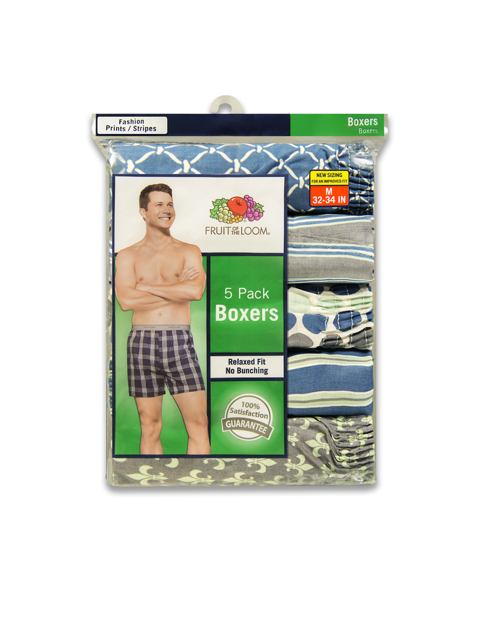 Men's Dual Defense Fashion Print and Stripe Boxers, 5 Pack