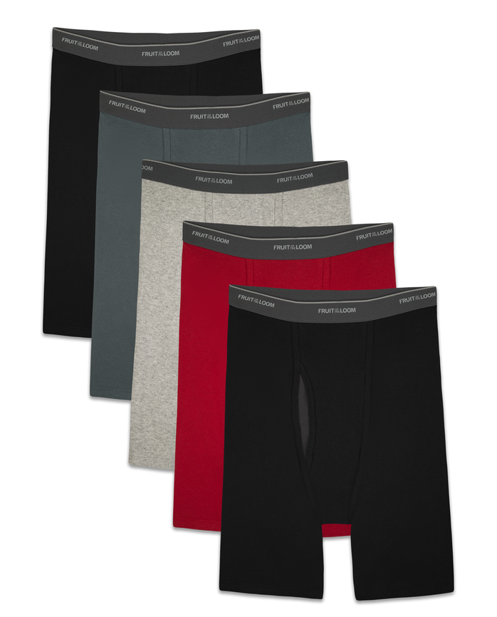 Men's COOLZONE Assorted Long Leg Leg Boxer Briefs, 5 Pack