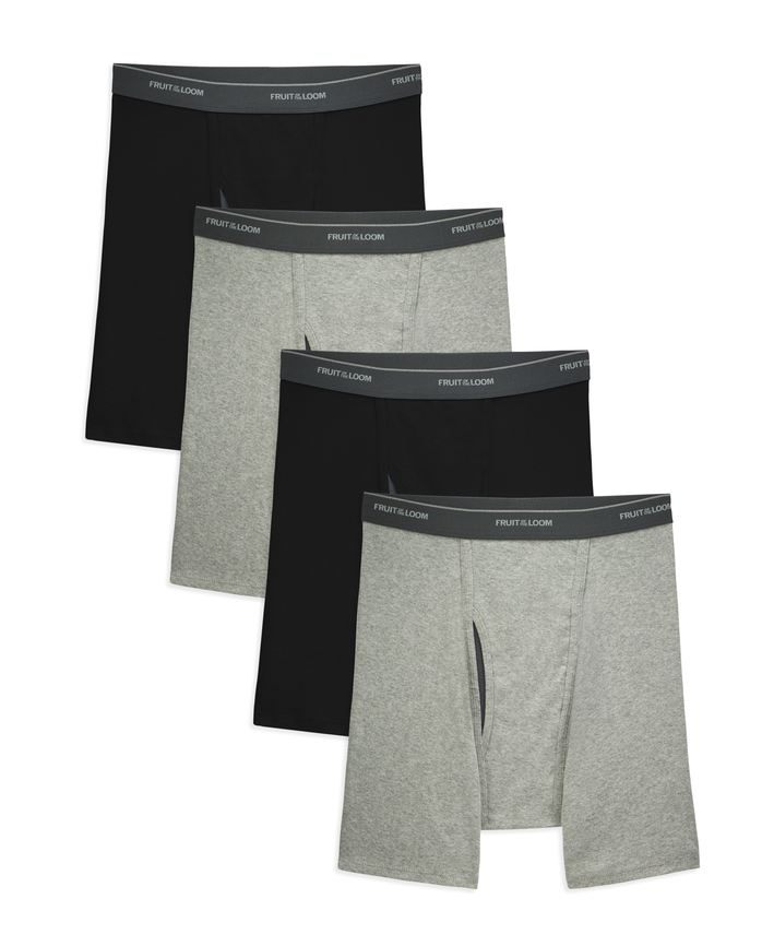 Men's COOLZONE Black/Gray Boxer Briefs, 4 Pack, Extended Sizes