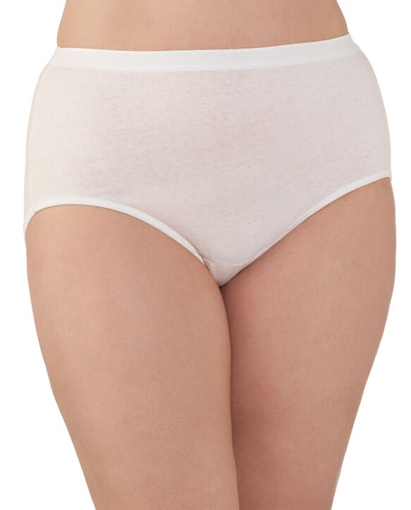 Women's Plus Size Fit for Me® by Fruit of the Loom® Cotton White Brief Panty, 3 Pack Assorted