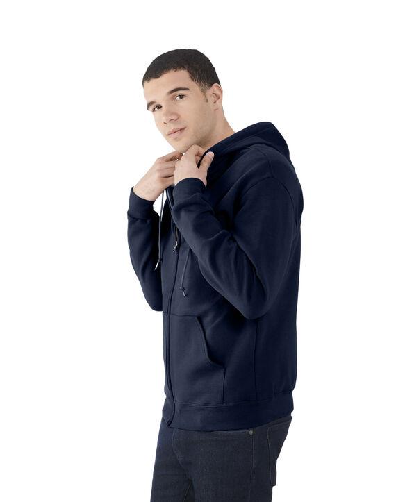 Men's EverSoft Fleece Full Zip Hoodie Jacket, Extended Sizes, 1 Pack Blue Cove